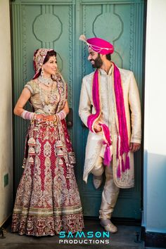 Indian Bride and Groom Desi Wedding, Wedding Suits, Wedding Attire, Punjabi Wedding, Wedding Sari, Wedding Ideas, Wedding Colors, Wedding Decorations, Bridal Outfits