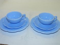 1930s Vintage Jeannette Delphite Blue Cherry Blossom 3 Piece Tea Cup Set , Blue Milk Glass, Set of 2 ,Child's Tea Set
