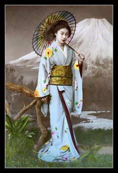 This 1880s studio pose of a lovely Japanese girl is by photographer KIMBEI KUSAKABE.  He lists the image as view No. 40 in his 1893 commercial catalog of Japanese photographs.  KIMBEI'S Catalog featured over 1,300 classic views of old Meiji-era Japan. The photos were hand printed under the sun in 8 x 10-inch size or larger, finished off in the darkroom, then hand colored. They were sold mounted, un-mounted, or in large, heavy Albums of 50 to 100 views. They were not cheap.  The…