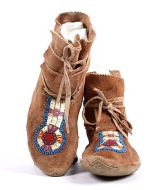 Sioux Beaded & Quilled Hide Moccasins 1880-1900