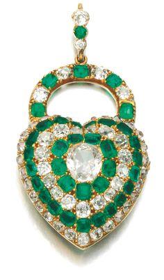 EMERALD AND DIAMOND PENDANT, MID 19TH CENTURY