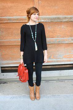 black tunic + tights