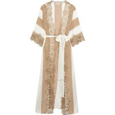 ROSAMOSARIO  Emiro Love metallic lace-trimmed crepe de chine robe ($460) ❤ liked on Polyvore featuring intimates, robes, lace trim robe, white bath robe, bath robes, white bathrobe and dressing gown