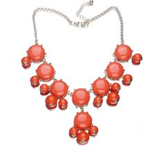 Eozy Clearance : Red Round Ball Bubble Golden Plated Alloy Adjustable W/ Clasp Chains Bib Necklace