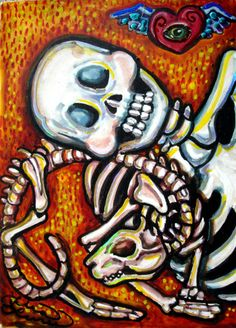 Luree art Original Day of the Dead SKELETON CAT LOVER dia de los muertos ACEO :)