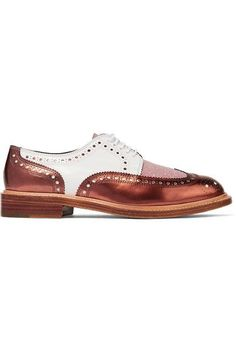 Robert Clergerie - Roeltm Glittered And Metallic Leather Brogues - Copper - IT36.5