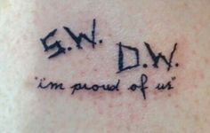 Supernatural Tattoo I'm Proud Of Us SW DW Something similar with sibling initials Fandom Tattoos, Nerdy Tattoos, Tattoos Skull, Body Art Tattoos, Small Tattoos, Cool Tattoos, Tatoos, Colin Ford, Spn Tattoo