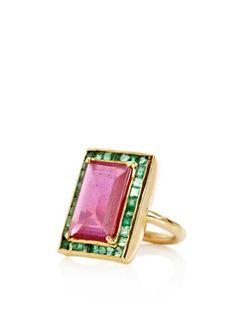 Jade Jagger Ruby, emerald and yellow gold ring Emerald Jewelry, Gold Jewelry, Jewelry Rings, Jewelry Box, Jewelery, Jewelry Accessories, I Love Jewelry, Fine Jewelry, Jewelry Design