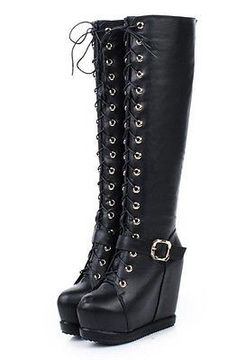 Womens Buckle Strap Lace Up Platform Wedge Heel Knee High Boots Shoes 918-6 #highheelbootsplatform