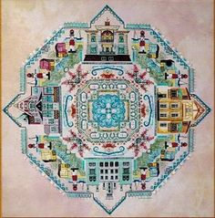 Chatelaine Baltic Sea Mandala (Ostsee), The - Cross Stitch Pattern. Model stitched on 32 Ct. white, antique white, or cream linen with DMC floss, Gloriana silk,