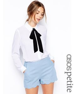 Image 1 of ASOS PETITE Exclusive Shirt with Contrast Tie