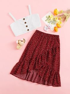 To find out about the Girls Buttoned Cami Top & Dot Ruffle Wrap Skirt Set at SHEIN, part of our latest Girls Two-piece Outfits ready to shop online today! Girls Fashion Clothes, Kids Outfits Girls, Girl Fashion, Girl Outfits, Fashion Outfits, Cute Casual Outfits, Cute Summer Outfits, Skirt And Top Set, Skirt Set