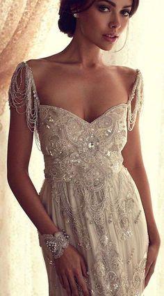 beaded wedding dress - 21 Amazing Non-white Wedding Dresses