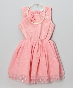 Look what I found on #zulily! Coral Polka Dot Lace Dress & Necklace - Toddler & Girls by Frills du Jour #zulilyfinds