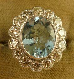 Antiques Atlas - 5CT AQUAMARINE & 1.35CT OLD CUT DIAMOND LARGE RING