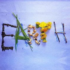 Earth Day Sign made from objects found in nature. #earthday #art #teachingideas
