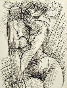 Marcel Gromaire - Nude Ink drawing of a naked woman by the French artist Marcel Gromaire (1892-1971) - Jerusalem:Israel Museum