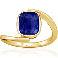 18K Yellow Gold Cushion Cut Blue Sapphire Solitaire Ring