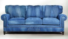 Sofa covered with old jeans #denim #couch #repurposed