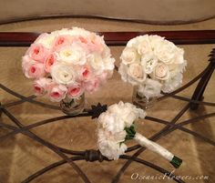 Pink and White Bridal Bouquet & White Bridesmaid Bouquets