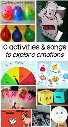 Have fun exploring emotions with these activities and YouTube songs. For related pins and resources follow https://www.pinterest.com/angelajuvic/autism-special-needs/