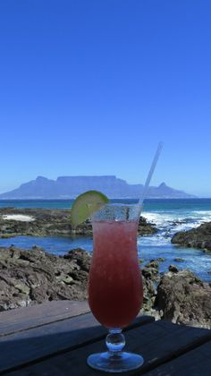 Enjoying a cocktail at On the Rocks Restaurant, Bloubergstrand