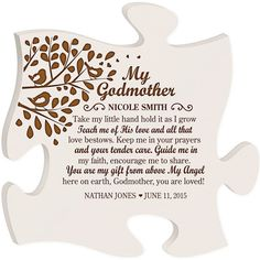 Personalized Gift for Godmother Godmother by Welovefamily on Etsy Godchild Gift, Godparent Gifts, Baptism Gifts, Baptism Ideas, Customized Gifts, Personalized Gifts, Handmade Gifts, Pastor John, Godfather Gifts