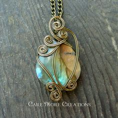 wire wrapping stones | ... - Iridescent Wire Wrapped Pendant in Antique Bronze - Healing Stone