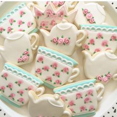 Vintage Tea Party Cookies - 1 Dozen by LittlePrinceCookies on Etsy https://www.etsy.com/listing/183926608/vintage-tea-party-cookies-1-dozen