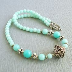 Amazonite Gemstone Necklace with Artisan Metal, Blue-green Aqua Color, Handmade