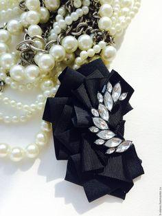 Купить Брошь Lalique. Репсовые ленты - черный, брошь, брошь ручной работы, репсовые ленты