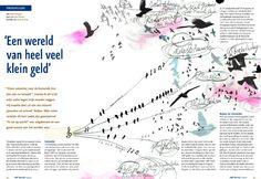 'Een wereld van heel veel klein geld.' (Muziekrechten) * ABP Wereld * Stichting Pensioenfonds ABP * 2010 * http://lisettedezoete.nl/illustraties/abp-wereld-muziekrechten