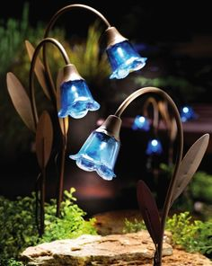 My Wyoming Patio lights Blue Bell Stake Solar Lawn Lights By Collections Etc: Patio, Lawn & Garden Solar Lawn Lights, Path Lights, Fairy Lights, Solar Licht, My Secret Garden, Dream Garden, Blue Garden, Yard Art, Outdoor Lighting