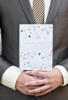 Playful, doodle-covered ceremony programs created by Orange Blossom Special Events