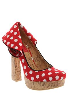 RED AND WHITE POLKA DOT CORK PLATFORM HEEL. I'd really love these if it wasn't for the back.... wtf is going in back there?