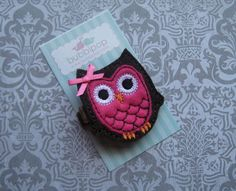 Boutique Brown and Dark Hot Pink Owl with Bow No Slip by bubbipop, $3.49