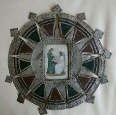 Historic New Mexican Tinwork, Retablos, Santos, Wood Carvings Tin Foil Art, Tin Art, New Mexican, Mexican Folk Art, Multimedia Arts, Catholic Crafts, Mirror Art, Mirrors, Art File