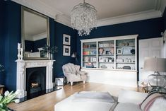 In Built Shelving And Statement Fireplace - Victorian Villa Sitting Room Painted In Farrow & Ball Stifkey Blue Victorian Living Room, Shabby Chic Living Room, Living Room Decor, Victorian House, Victorian Decor, Drawing Room Blue, Living Room Designs, Living Spaces, Bungalow Renovation