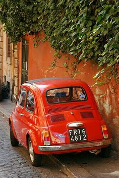 Fiat parents first car. It was white.but the doors opened in reverse. They now call them the suicide doors. My dad looked like a movie star coming out of that car. I will need to post the picture! Fiat Cinquecento, Fiat Abarth, Fiat Cars, Car Goals, Cute Cars, Small Cars, Hot Wheels, Cars And Motorcycles, Vintage Cars