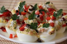 This dish is basically a recipe for deviled eggs, but with the flavor volume bumped up! Romanian Desserts, Romanian Food, Romanian Recipes, Egg Recipes, Snack Recipes, Cooking Recipes, Yummy Recipes, Recipies, Stuffed Eggs
