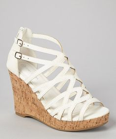 d223f30b0c4b Love this TOP MODA White Double-Buckle Blow Wedge Sandal by TOP MODA on