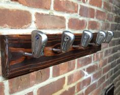 Recycled Golf Club Coat Rack Wooden Wall Mounted Hook by rewindlab