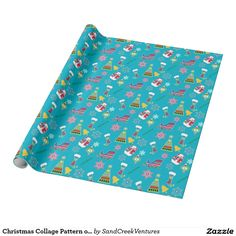 Christmas Collage Pattern on Blue Wrapping Paper