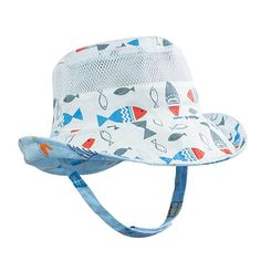 Evelin LEE Baby Infant Lovely Floral Embroidered Floppy Wide Brim Sun Cap Summer Outdoor Baby Girl Boy Sun Beach Cotton Hat-Style 2 White