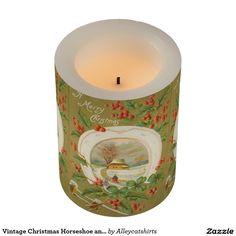 Vintage Christmas Horseshoe and Holly Flameless Candle