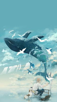 The whale fly out of the boy's painting. Scenery Wallpaper, Cute Wallpaper Backgrounds, Cute Wallpapers, Boys Wallpaper, Arte 8 Bits, Manga Anime, Anime Art, Whale Painting, Whale Drawing