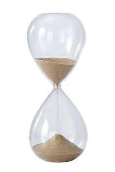 Timglas med sand som rinner ner på ca 6 minuter. Höjd 21 cm. Ø 9 cm. <br><br>