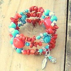 Red Bamboo Coral, Turquoise, Silver Wrap Bracelet with Feather Charm