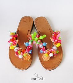 Handmade Leather Sandals with colourful beads by MyMarmade on Etsy, Leather Diy Crafts, Leather Craft, Handmade Leather, Hobbies And Crafts, Diy And Crafts, Diy Fashion, Fashion Shoes, Diy Clothes And Shoes, Yellow Sandals
