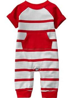 Striped Terry-Fleece One-Pieces for Baby | Old Navy